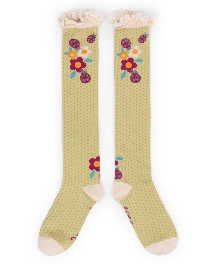 Powder Long Sock - Flowers and Ladybird in Soft Lime 7363