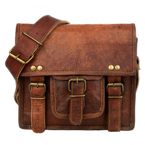 Vintage Style Brown Leather Satchel Small 7519