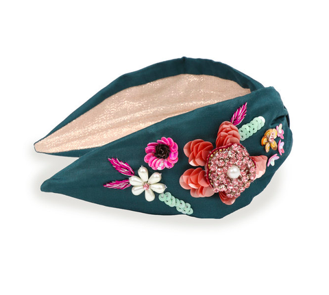 Powder Headband - Embroidered Floral in Teal 9770