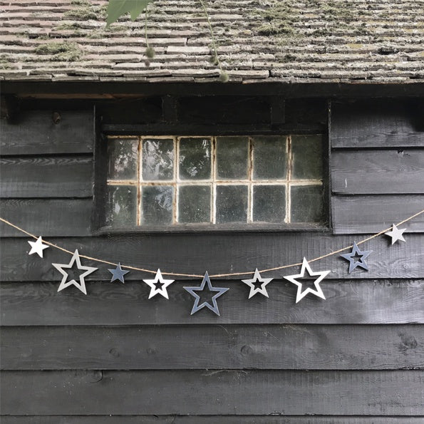 Wooden Bunting - Outline Stars 9091