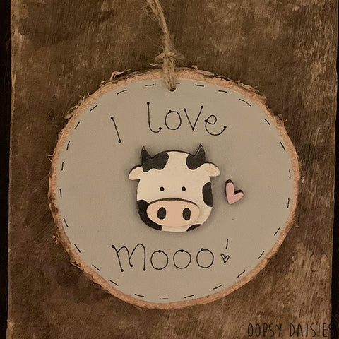 Handmade Wooden Log Slice - I Love Mooo 10833