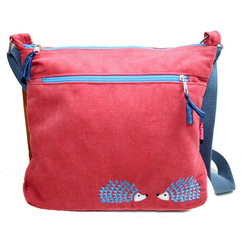 Lua Embroidered Messenger Bag - Hedgehog in Rose Pink 9404