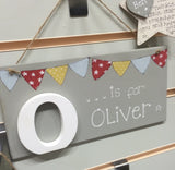 Personalised Wooden Letter Name Plaque - Boy 4809