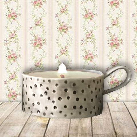Handled Candle Holder - Dimpled Spots 10228