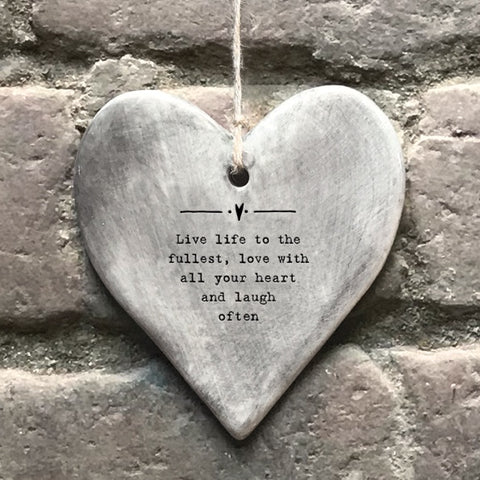 Rustic Hanging Heart - Live Life 10724