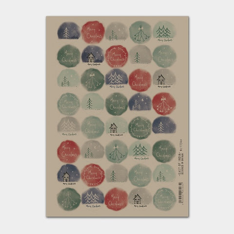 Christmas Label Sticker Sheet -Kraft Christmas Hand Drawn 9300