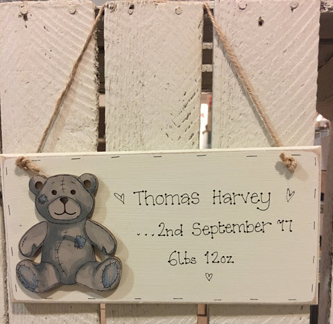 Personalised Long Plaque - Teddy Bear 4406