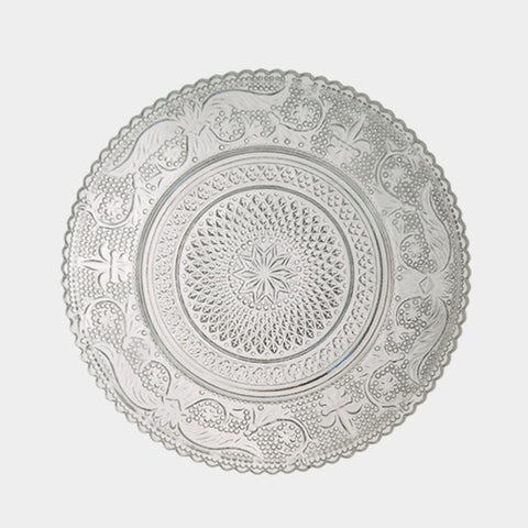 Glass Plate with Flower Pattern 6047