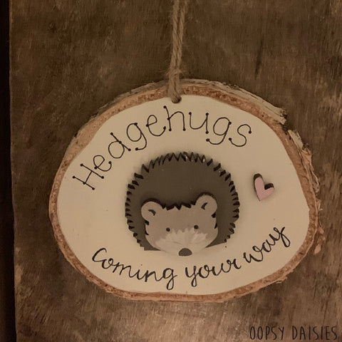 Handmade Wooden Log Slice - Hedgehugs 10831