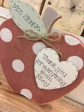 Personalised Teacher Apple Block with Heart 7790