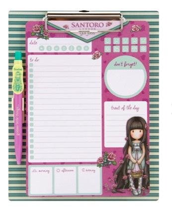 Gorjuss Magnetic Clipboard & Pen Set - Rosebud 7382