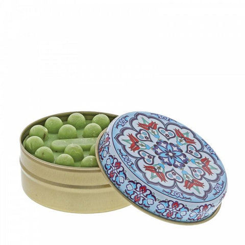 Myros Tin Soap - Olive in Pale Blue Kaleidoscope 11265