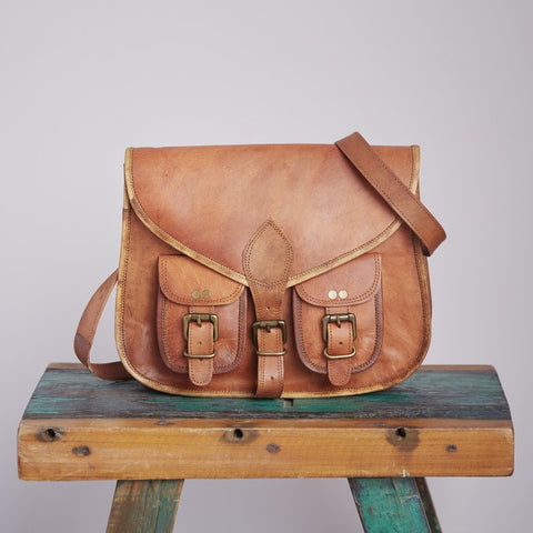 Brown Leather Satchel Saddle Bag 8250