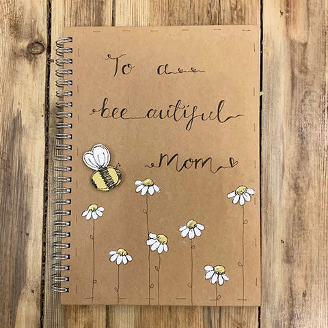 Handmade Notebook with Little Daisies - Bee-autiful Mom 9892