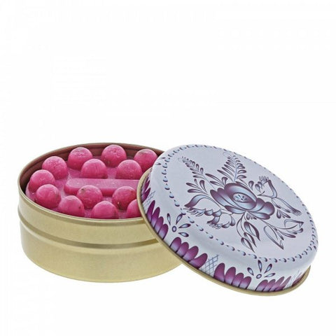 Myros Tin Soap - Pomegranate in Blue & White Floral 11267