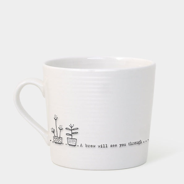 Porcelain Wobbly Mug - A Brew Will See you Through 7223
