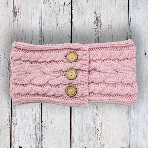 Aran Button Headband - Rose Pink 10754