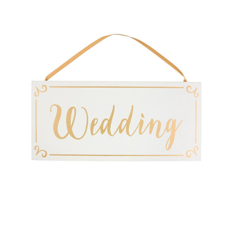 Gold & White Wedding Hanging Plaque 6305