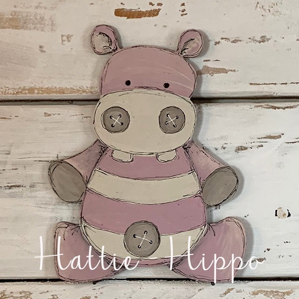 Personalised Animal Range - Hattie Hippo Lg Plaque 9681