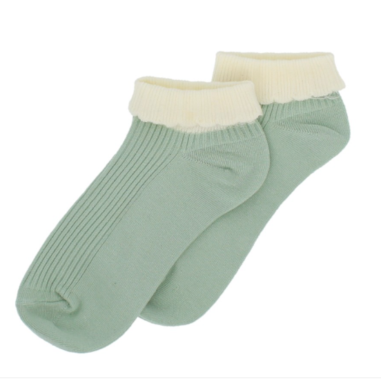 Forever England Ankle Sock - Cuff Trainer Pastel Green 8310