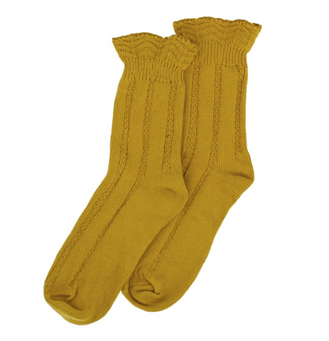 Forever England Ankle Sock - Ruffle Top Ochre 8313