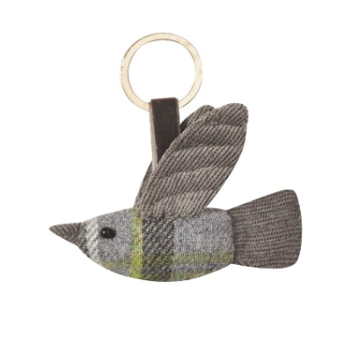 Earth Squared Tweed Bird Keyring - Storm Grey 8386