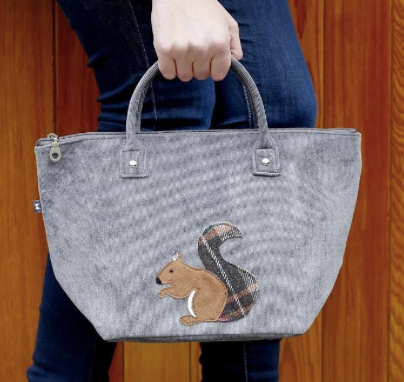 Earth Squared Animal Applique Cord Tote - Grey Squirrel 8406