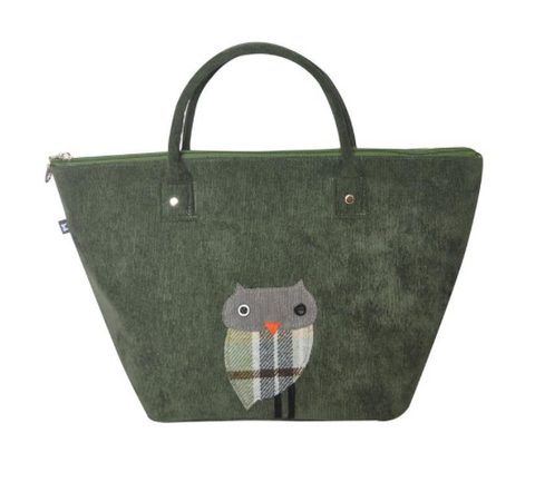 Earth Squared Animal Applique Cord Tote - Green Owl 8408