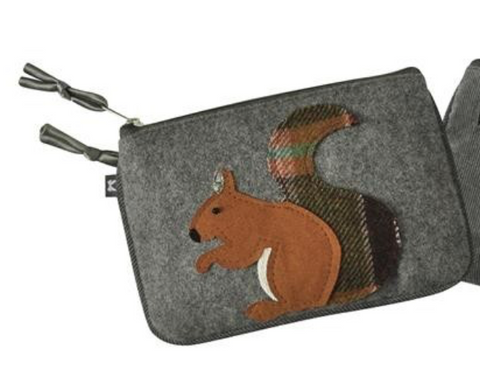 Earth Squared Animal Applique Juliet Purse - Grey Squirrel 8410