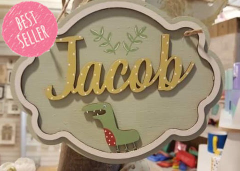 Personalised Elegant Name Plaque Sm - Dinosaur 8507