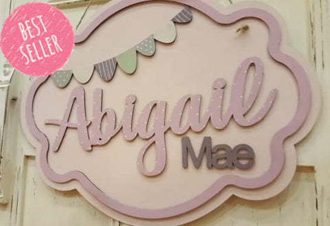 Personalised Elegant Name Plaque Lg - Bunting 8508