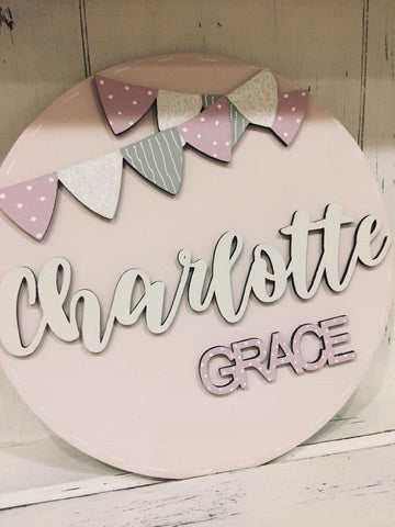 Personalised Round Name Sign Sm - Bunting 8534