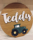 Personalised Round Name Sign Sm - Tractor 8535
