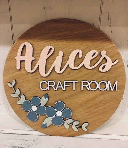 Personalised Round Name Sign Sm - Flowers 8537