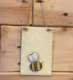 Bees & Daisies Mini Plaque - Bee Happy (Also available BLANK) 8618