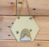 Bees & Daisies Hexagon Plaque -Bee Bold, Bee Brave (Also available BLANK) 8625