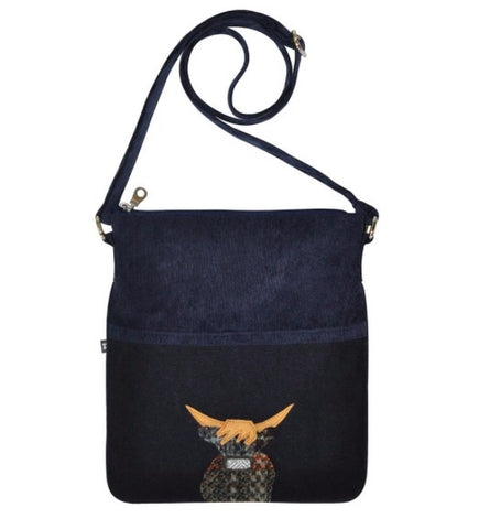 Earth Squared Applique Wool Animal Block Bag - Navy Cow 6395