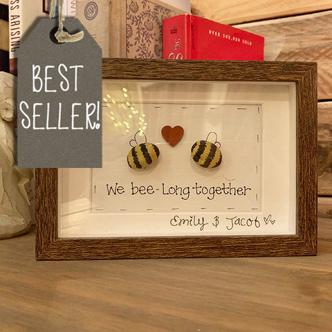 Pebble Bees in Tiny Brown Box Frame 8709