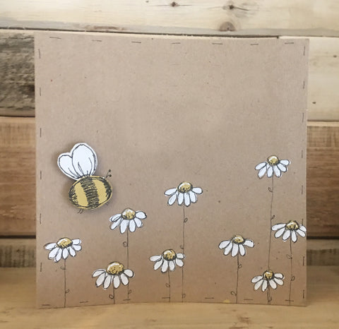 Personalised Card / Postcard - Bees & Daisies (Blank) 8721