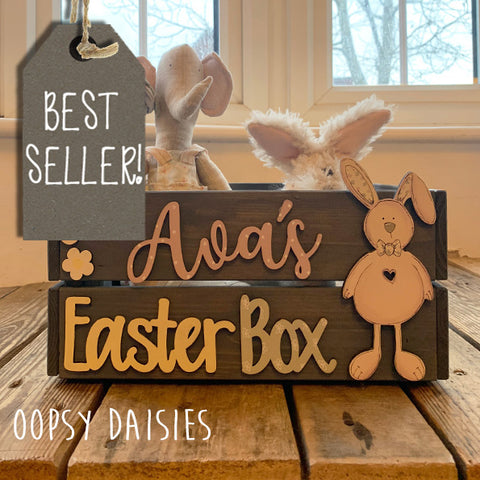 Personalised Easter Crate with Bunny Plaque  - Pink 8770