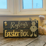 Personalised Easter Crate with Bunny Plaque - Blue 8771