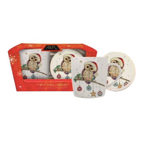 Bug Art Owl Mug & Coaster Set 10445