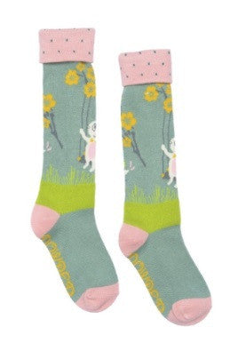 Powder Kids Long Sock - Bunny on Swing Mint 2-4 yrs 5993