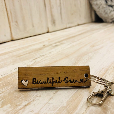 Keyring Tag with Heart - Beautiful One 9048