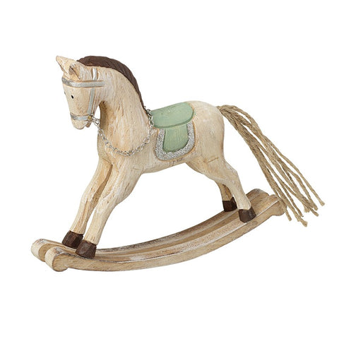 Wooden Rocking Horse Pale Green Saddle 9343