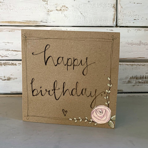 Handmade Rose Card - Happy Birthday 9882
