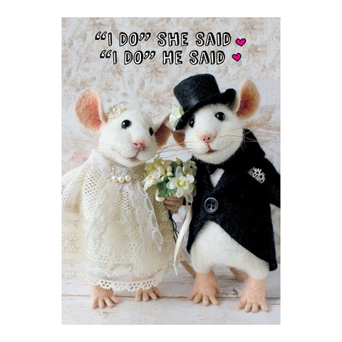 Tiny Squee Mousies Card - I Do She Said, He Said 8125