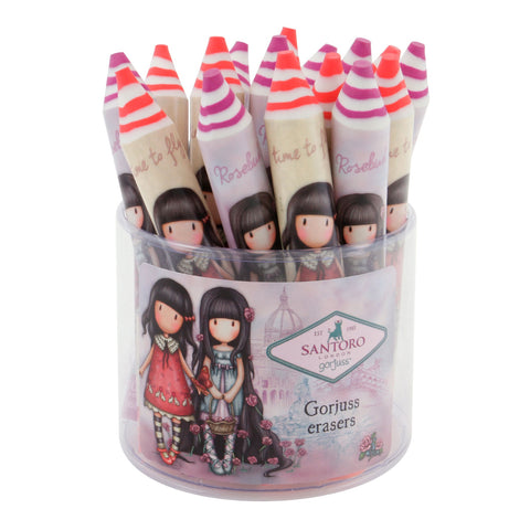 Gorjuss Pencil Shaped Eraser - Rosebud 8106