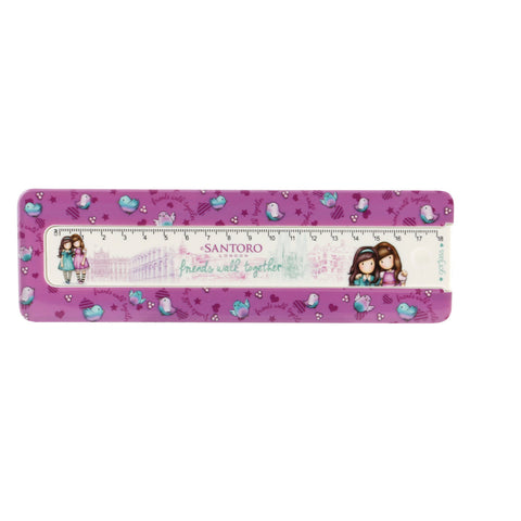 Gorjuss Cityscape Pencil Box with Ruler - Friends Walk Together 7603