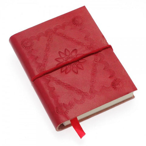 Sm Red Embossed Leather Journal 8258